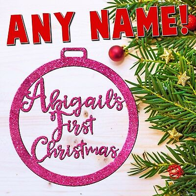 Personalised! Baby's First Christmas Tree Decoration Bauble Ornament+GLITTER!