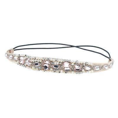 Retro Women Glitter Crystal Pearl Head Band Wedding Bridal Elastic Hairband