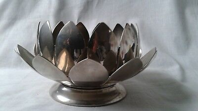 Silver plated Lotus Flower Petal candle pot pourri 2 piece  Bowl Dish