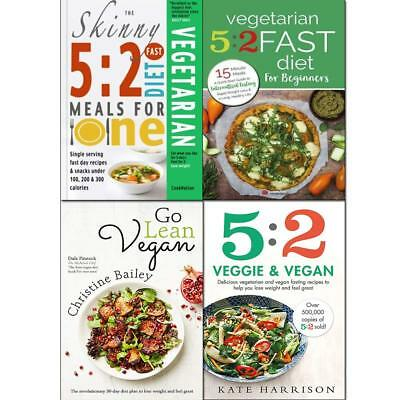 Skinny 5:2 fast diet Veggie and Vegan 4 Books collection set Paperback NEW