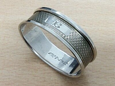 Vintage Sterling Silver Initial B Napkin Ring Christening Gift 1951