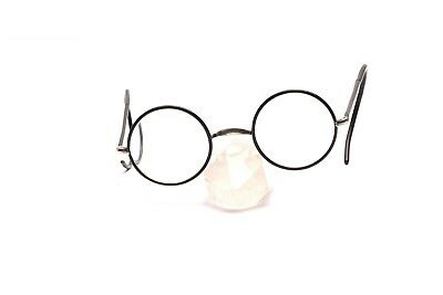 Round antique nickel eyeglasses with black covered glasses rims ,  40 mm  P9