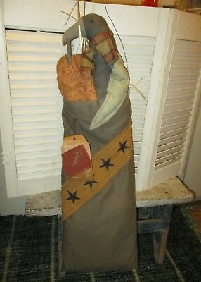 Primitive Early Style LARGE CROW PUMPKIN BAG Handmade Hanger HALLOWEEN Doll 32""