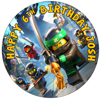 """LEGO NINJAGO 7.5"""" Cake Topper Rice Paper (2ND/1ST/OVERNIGHT POST) + CUPCAKES"""