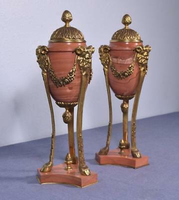 *Pair of Antique French Neogothic Gilt Bronze & Marble Urns Chalices with Satyrs