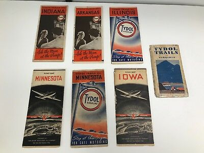 Lot Of 7 Vintage 1930's/40's Miscellaneous State Flying A Road Maps