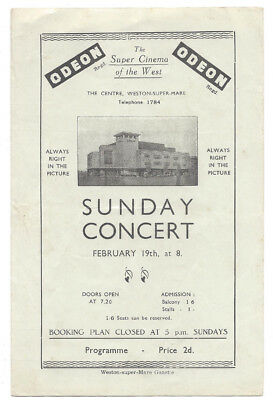 WESTON SUPER MARE 4 Page programme for Sunday Concert at the Odeon Cinema c1939