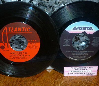 """< 2 ARETHAs: 1967 """"BABY I LOVE YOU"""" + 1989 """"it ISN'T IT WASN't"""" CLEAN M- GEMS"""