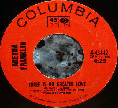"""< Sale! Aretha Franklin 1966 """"There Is No Greater Love"""": Clean M- 45/Sleeve"""