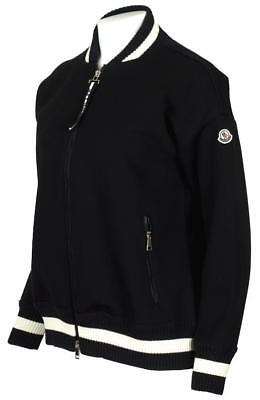 New Moncler Ladies Current Black White Logo Jersey Bomber Jacket L/Large