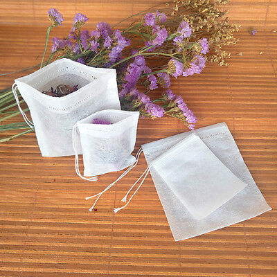 100pcs Empty Teabags String Heat Seal Filter Paper Herb Loose Tea Bags S