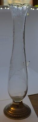 """Vintage CROWN Weighted Sterling Silver Bud Vase With Etched Glass 10"""" Ruffle Top"""