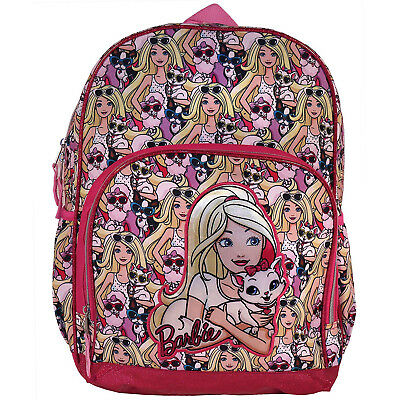 "Barbie Furry Friends 16"" Backpack w/ Side Pockets Reflective Strips Pink"