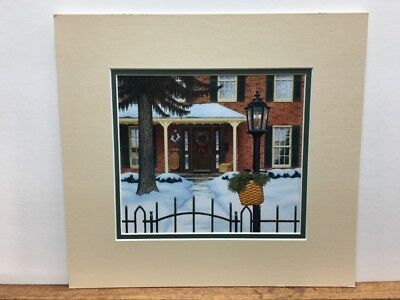 Longaberger Winter Welcome Front Porch Sled Mail Basket Matted Art Print