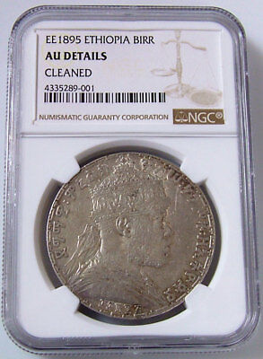 1895 EE NGC Certified AU Details Ethiopia Birr Silver Coin Cleaned