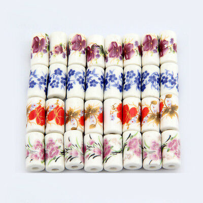 5pcs 9x17mm Charms Flower Pattern Ceramic Porcelain Loose Cylinder Beads Craft
