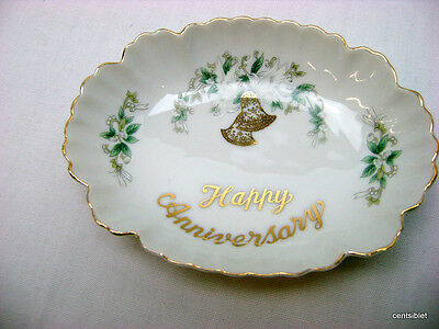 Lefton China #1625 Happy Anniversary Oval Porcelain Plate Dish Hand painted