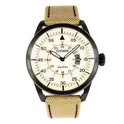 Citizen AW1365-19P Men's Eco-Drive Beige Dial Nylon Strap Watch