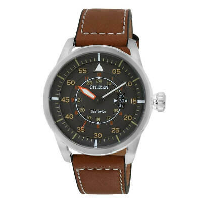 Citizen AW1360-12H Men's Eco-Drive Grey Dial Leather Strap Watch