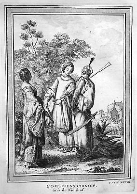 1750 China Asia Asien Trachten costumes Ansicht view Kupferstich antique print