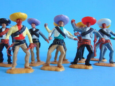 Ten vintage TIMPO TOYS Wild West Mexican Badit figures. MADE IN GT. BRITAIN