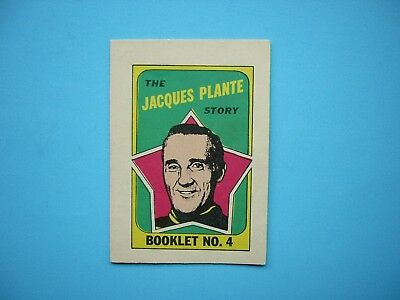 1971/72 O-Pee-Chee Nhl Hockey Card Insert Booklet #4 Jacques Plante Sharp!! Opc