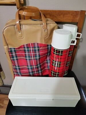 NEW Vintage 1973 King Seeley Thermos Set Plaid 2 Thermos, Lunchbox, Bag Travel