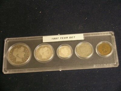 1897 Nice Circulated Year Set    -   Vintage 5-Coin Set