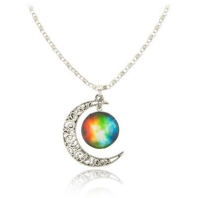Silver-Tone Crescent Moon with Rainbow Glass Cabochon Pendant & Chain LGBTQ