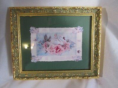 Vintage Ornate Wall Photo  Mini  picture  Plastic 5 X 7 Inches Gold Color Frame