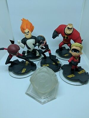 Disney Infinity Incredibles lot of 5 Figures Total Ships FAST XBOX PS4 WII 3DS