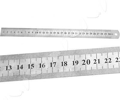 Measuring Ruler Metal Drawing Stationery Double Sided Metric & Imperial 30CM