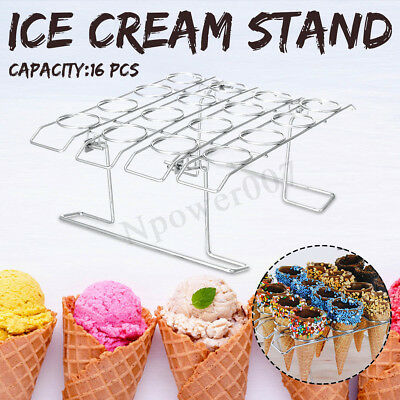 Stainless Steel Cupcake Cake Ice Cream Cone Baking Decorating Rack Holder Stand
