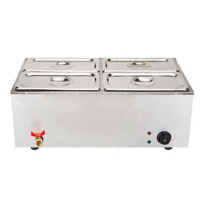 SOGA Stainless Steel Electric Bain Maire Food Warmer with Pans and Lids 4*4.5L