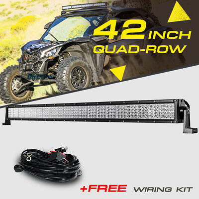 Curved 42inch 2880W Quad Row LED Light Bar Como For Polaris Sportsman//RZR//Ranger