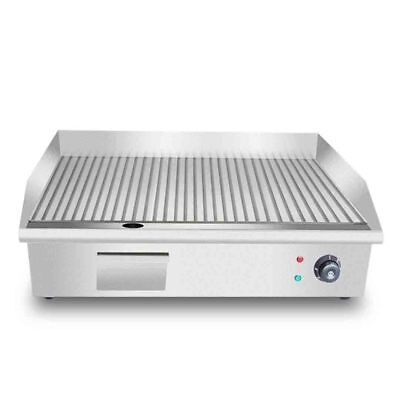 SOGA 3000W Stainless Steel Ribbed Griddle Commercial Grill BBQ Hot Plate