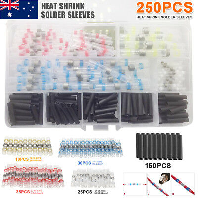 250pc Wires Solder Heat Shrink insulated Sleeve Butt Splice Connector Waterproof