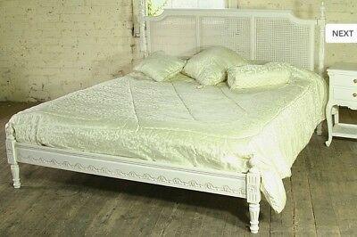 """Mahogany Regency Rattan 4'6"""" Double Size Low End French Antique White Bed  New"""