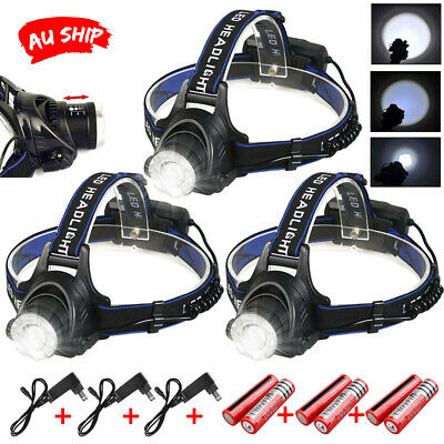 3PC LED Headlamp Rechargeable Bike Lights Head Torch CREE 21000LM XML T6 Camping