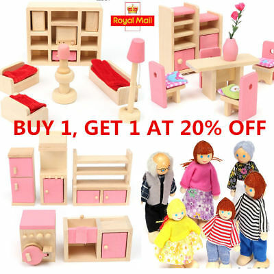 Wooden Furniture Room Set Dolls Miniature House Family For Kids Children Toy