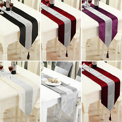 Diamante Luxury Table Runner Thick Velvet Chenille Satin Tasseled Edges UK