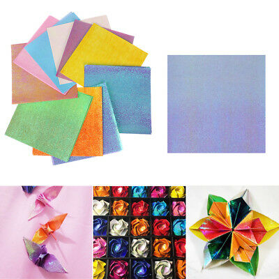 50pcs Single Side Origami Pearlescent Paper Folding Solid Color Kids Handmade