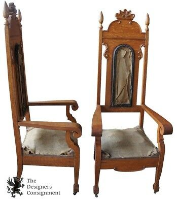 2 Antique 19th C. Monumental Victorian Quartersawn Oak Carved Throne Chairs