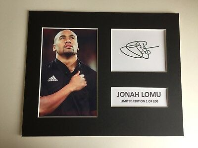 Limited Edition Jonah Lomu Signed Mount Display NEW ZEALAND RUGBY ALL BLACKS