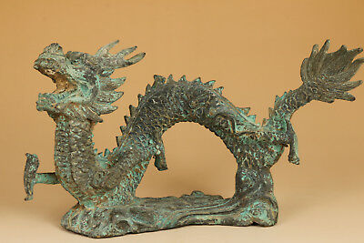 Ancient Big Bronze Chinese Old Hand Carved fly Dragon Statue collectable ornamen