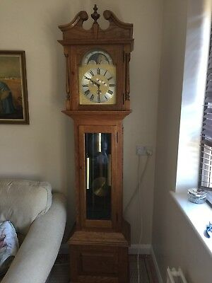 Handsome 8day Grandfather clock -Carved Oak Case
