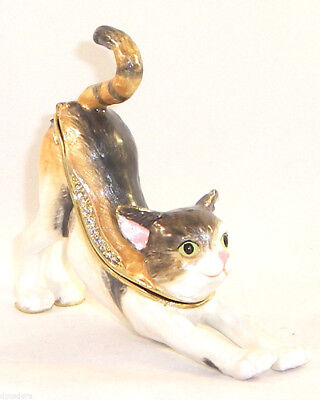 Kingspoint Kylie Calico Cat  Pewter  Bejeweled Hinged Trinket / Jewelry Box