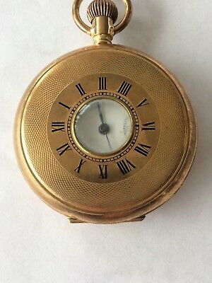 Lovely Gold Plated Pocket Watch With Gold Plated Chain & Fob Good Working Order