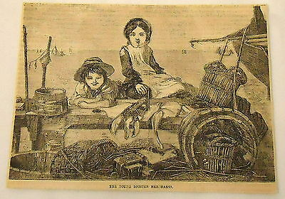 1859 magazine engraving~ THE YOUNG LOBSTER MERCHANTS - children