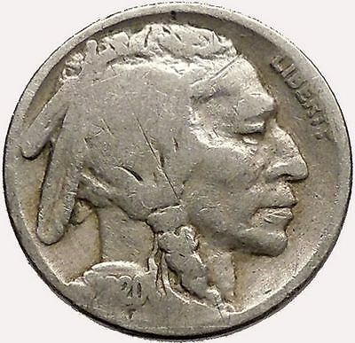 1920 BUFFALO NICKEL 5 Cents of United States of America USA Antique Coin i43580